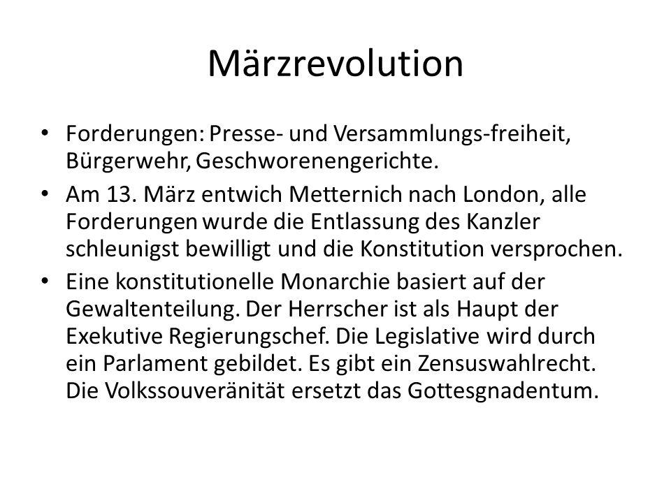 Märzrevolution Forderungen: Presse- und Versammlungs-freiheit, Bürgerwehr, Geschworenengerichte. Am 13. März entwich Metternich nach London, alle Ford