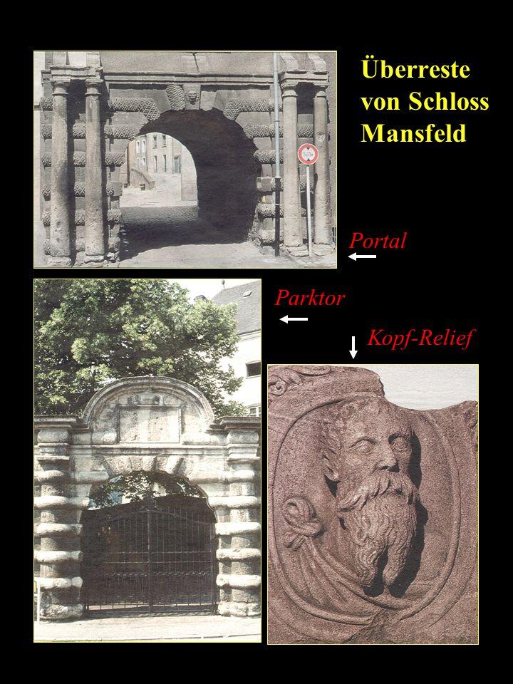 Überreste von Schloss Mansfeld Portal Parktor Kopf-Relief