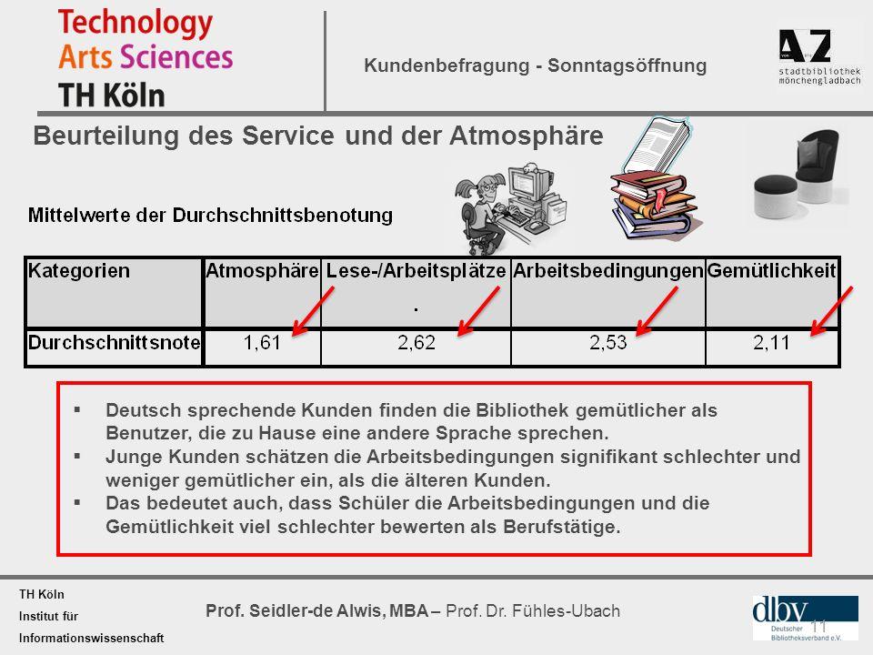 TH Köln Institut für Informationswissenschaft Prof. Seidler-de Alwis, MBA – Prof. Dr. Fühles-Ubach Kundenbefragung - Sonntagsöffnung 11 Beurteilung de