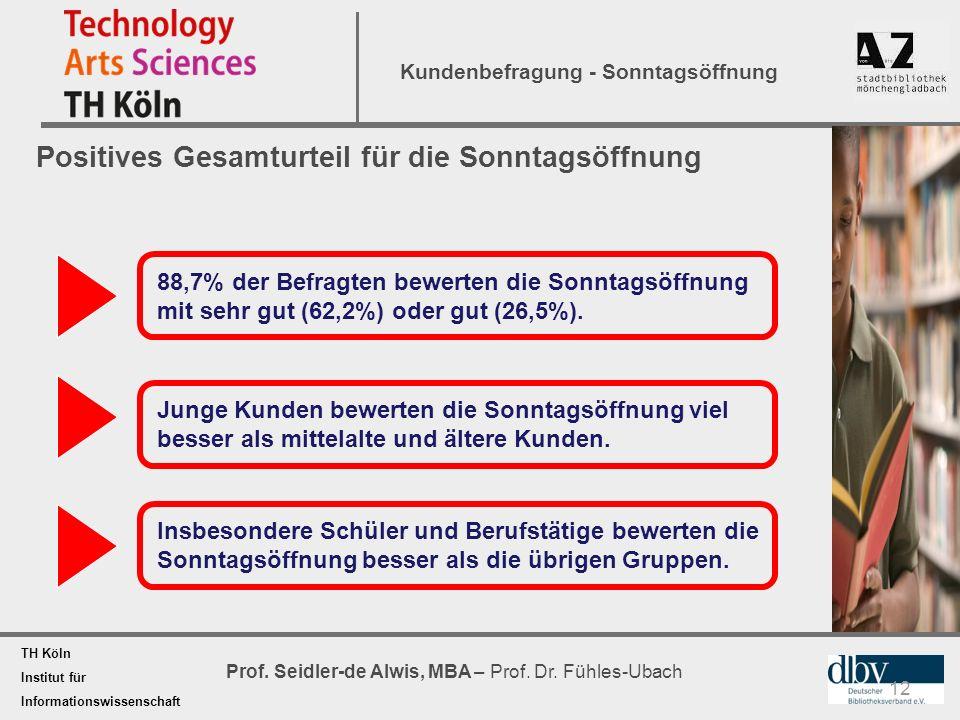 TH Köln Institut für Informationswissenschaft Prof. Seidler-de Alwis, MBA – Prof. Dr. Fühles-Ubach Kundenbefragung - Sonntagsöffnung 12 Positives Gesa