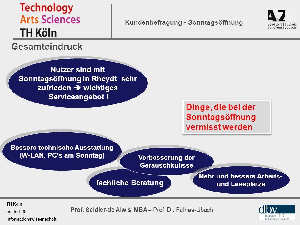 TH Köln Institut für Informationswissenschaft Prof. Seidler-de Alwis, MBA – Prof. Dr. Fühles-Ubach Kundenbefragung - Sonntagsöffnung Gesamteindruck 13