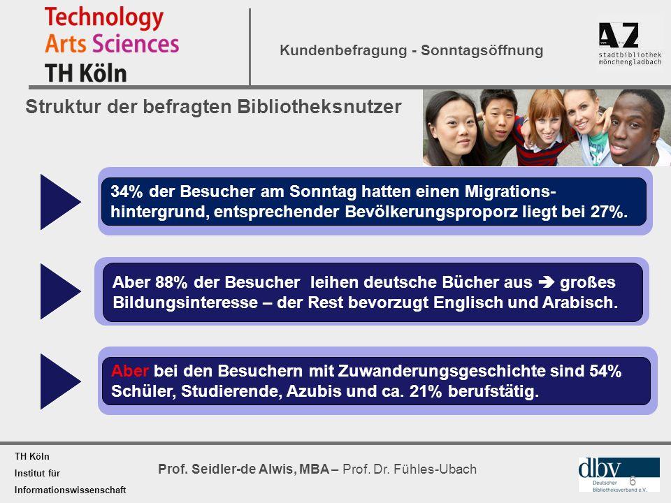 TH Köln Institut für Informationswissenschaft Prof. Seidler-de Alwis, MBA – Prof. Dr. Fühles-Ubach Kundenbefragung - Sonntagsöffnung Struktur der befr