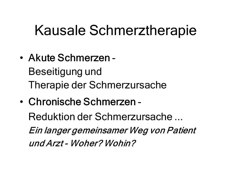 Kausale Schmerztherapie Akute Schmerzen - Beseitigung und Therapie der Schmerzursache Chronische Schmerzen - Reduktion der Schmerzursache... Ein lange