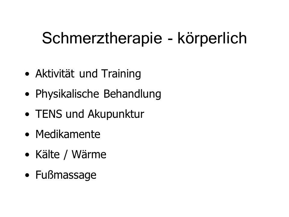 Schmerztherapie - körperlich Aktivität und Training Physikalische Behandlung TENS und Akupunktur Medikamente Kälte / Wärme Fußmassage