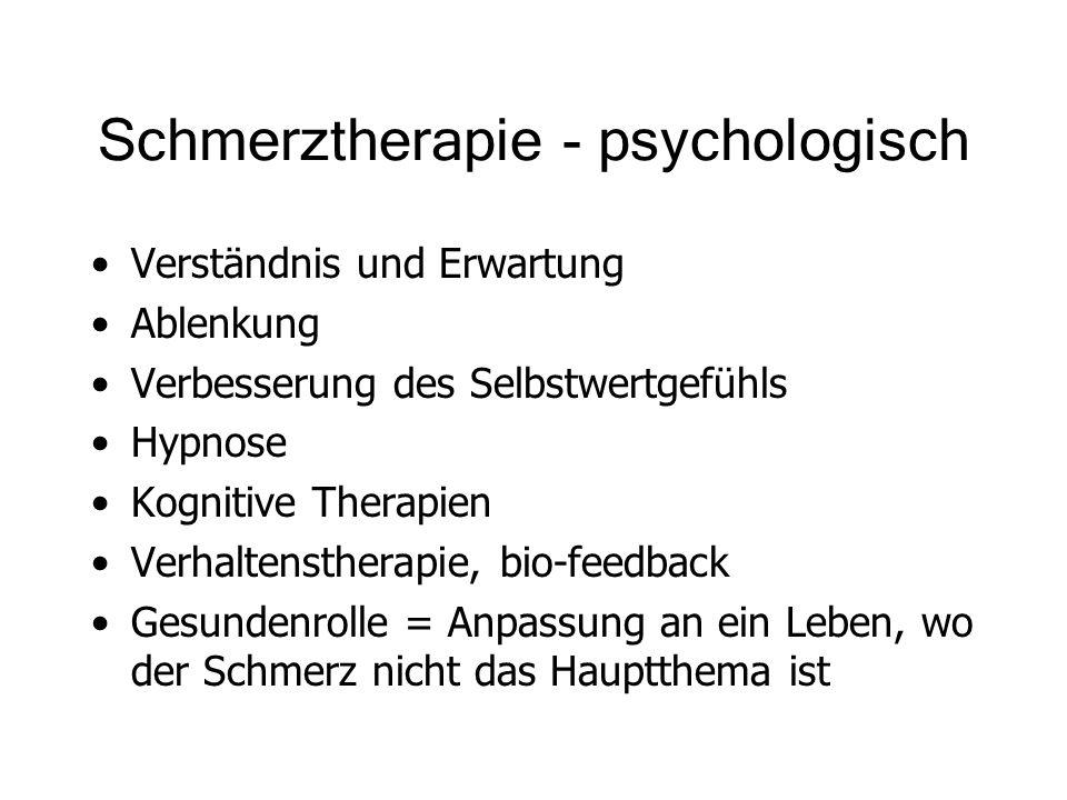 Schmerztherapie - psychologisch Verständnis und Erwartung Ablenkung Verbesserung des Selbstwertgefühls Hypnose Kognitive Therapien Verhaltenstherapie,