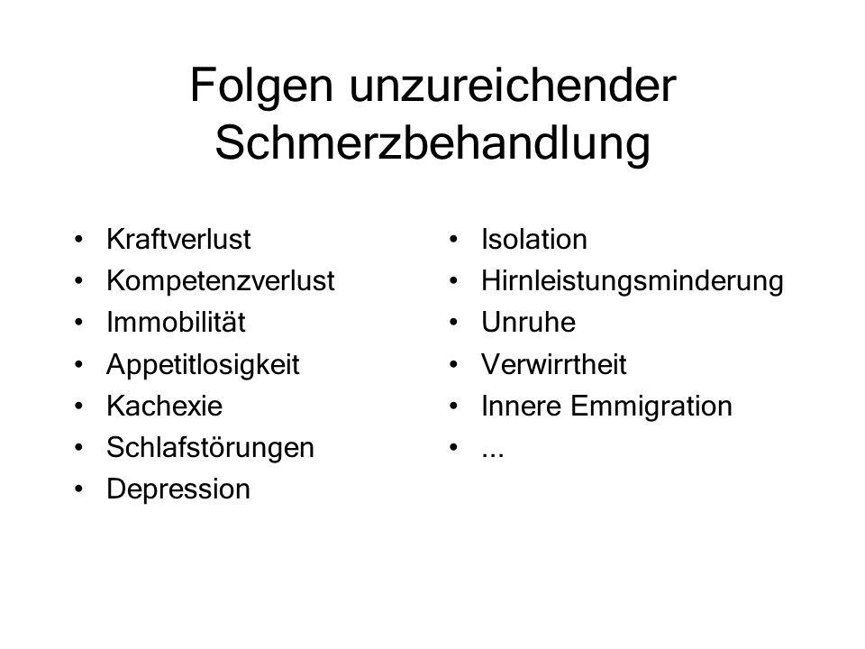 Folgen unzureichender Schmerzbehandlung Kraftverlust Kompetenzverlust Immobilität Appetitlosigkeit Kachexie Schlafstörungen Depression Isolation Hirnl