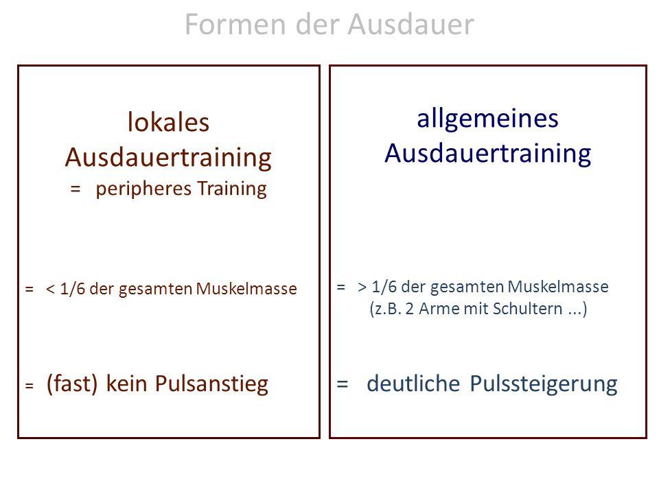 lokales Ausdauertraining = peripheres Training = < 1/6 der gesamten Muskelmasse = (fast) kein Pulsanstieg allgemeines Ausdauertraining = > 1/6 der gesamten Muskelmasse (z.B.