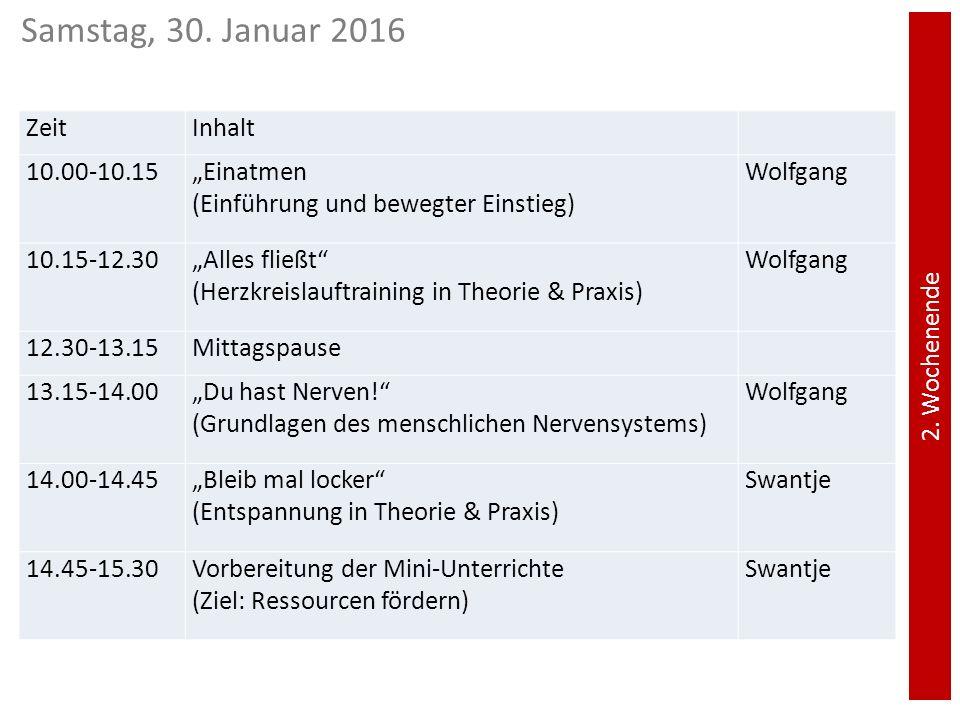 """2. Wochenende ZeitInhalt 10.00-10.15""""Einatmen (Einführung und bewegter Einstieg) Wolfgang 10.15-12.30""""Alles fließt"""" (Herzkreislauftraining in Theorie"""