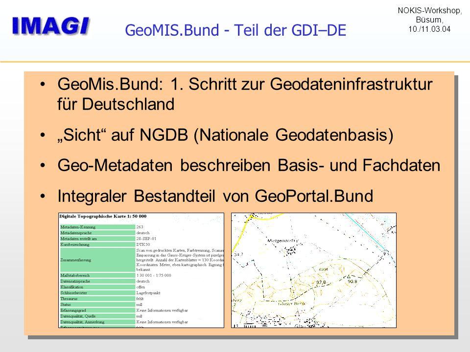"""GeoMIS.Bund - Teil der GDI–DE GeoMis.Bund: 1. Schritt zur Geodateninfrastruktur für Deutschland """"Sicht"""" auf NGDB (Nationale Geodatenbasis) Geo-Metadat"""