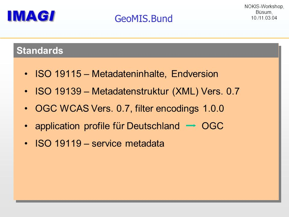 Standards GeoMIS.Bund ISO 19115 – Metadateninhalte, Endversion ISO 19139 – Metadatenstruktur (XML) Vers. 0.7 OGC WCAS Vers. 0.7, filter encodings 1.0.