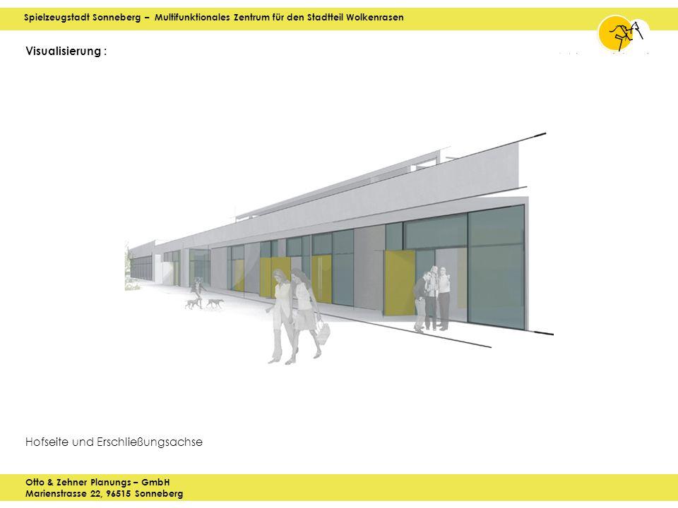 Spielzeugstadt Sonneberg – Multifunktionales Zentrum für den Stadtteil Wolkenrasen Otto & Zehner Planungs – GmbH Marienstrasse 22, 96515 Sonneberg Visualisierung : Hofseite und Erschließungsachse