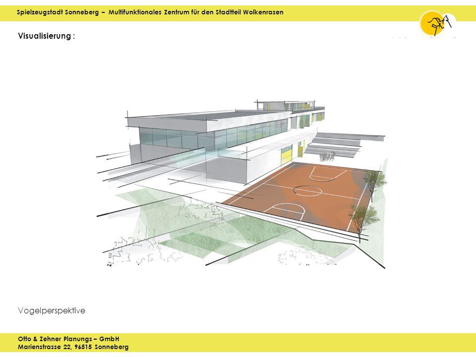 Spielzeugstadt Sonneberg – Multifunktionales Zentrum für den Stadtteil Wolkenrasen Otto & Zehner Planungs – GmbH Marienstrasse 22, 96515 Sonneberg Visualisierung : Vogelperspektive