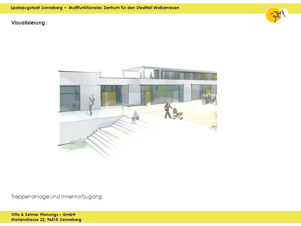 Spielzeugstadt Sonneberg – Multifunktionales Zentrum für den Stadtteil Wolkenrasen Otto & Zehner Planungs – GmbH Marienstrasse 22, 96515 Sonneberg Visualisierung : Treppenanlage und Innenhofzugang