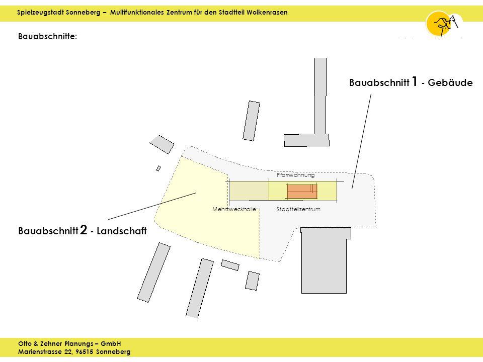 Spielzeugstadt Sonneberg – Multifunktionales Zentrum für den Stadtteil Wolkenrasen Otto & Zehner Planungs – GmbH Marienstrasse 22, 96515 Sonneberg Bauabschnitte: Bauabschnitt 2 - Landschaft Bauabschnitt 1 - Gebäude Mehrzweckhalle Pfarrwohnung Stadtteilzentrum
