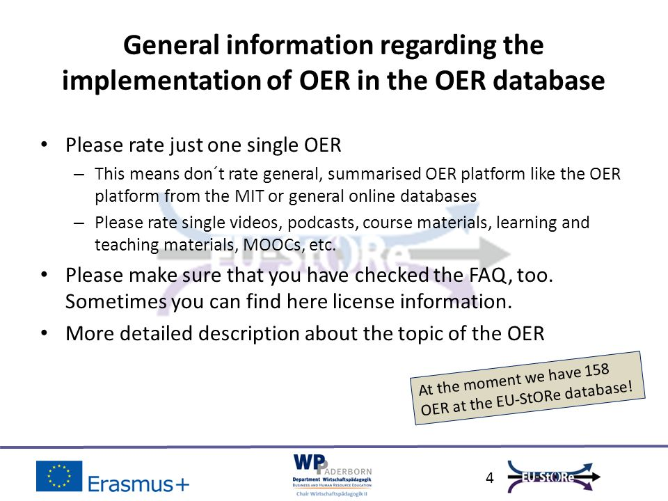 5 Overview of national OER integrated in the EU- StORe database Small cutout of the rated OERLink Saved as pdf.