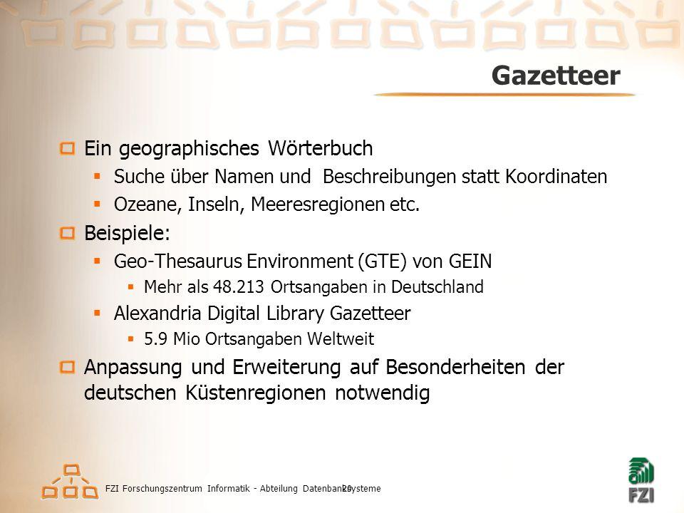 FZI Forschungszentrum Informatik - Abteilung Datenbanksysteme20 Gazetteer Ein geographisches Wörterbuch  Suche über Namen und Beschreibungen statt Koordinaten  Ozeane, Inseln, Meeresregionen etc.