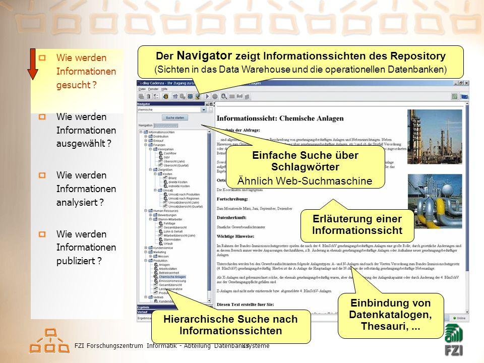 FZI Forschungszentrum Informatik - Abteilung Datenbanksysteme33 Informationen finden u.