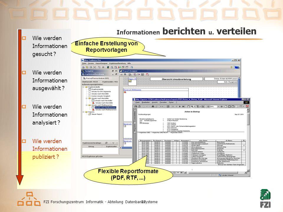 FZI Forschungszentrum Informatik - Abteilung Datenbanksysteme37 Informationen berichten u.