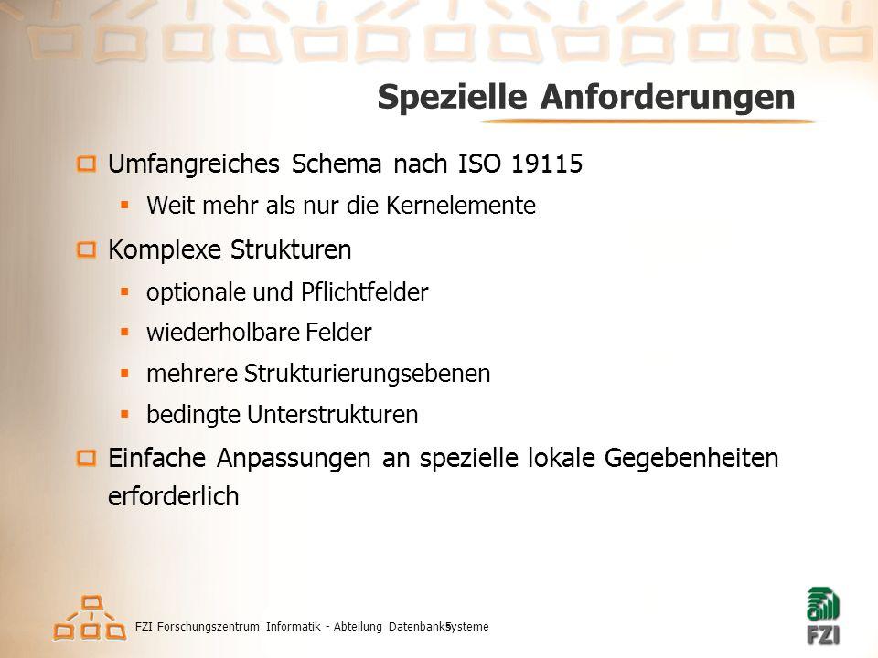 FZI Forschungszentrum Informatik - Abteilung Datenbanksysteme5 Spezielle Anforderungen Umfangreiches Schema nach ISO 19115  Weit mehr als nur die Kernelemente Komplexe Strukturen  optionale und Pflichtfelder  wiederholbare Felder  mehrere Strukturierungsebenen  bedingte Unterstrukturen Einfache Anpassungen an spezielle lokale Gegebenheiten erforderlich
