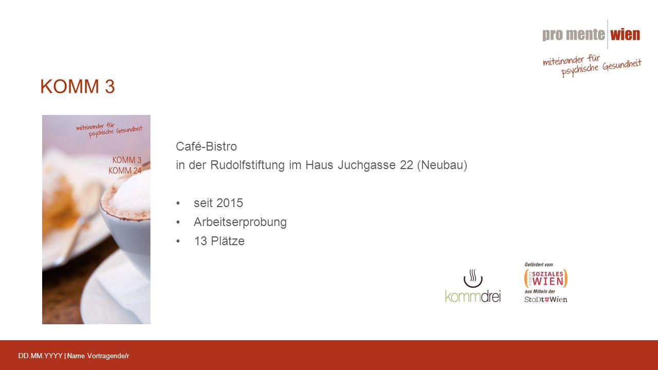 DD.MM.YYYY | Name Vortragende/r KOMM 3 Café-Bistro in der Rudolfstiftung im Haus Juchgasse 22 (Neubau) seit 2015 Arbeitserprobung 13 Plätze