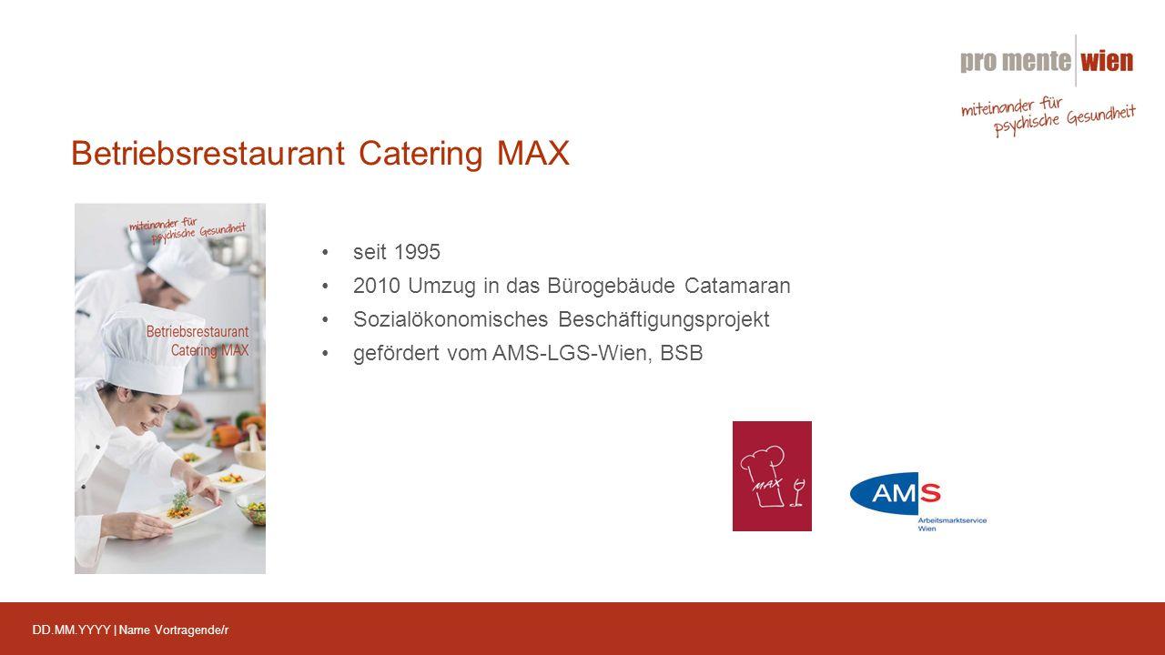 DD.MM.YYYY | Name Vortragende/r Betriebsrestaurant Catering MAX seit 1995 2010 Umzug in das Bürogebäude Catamaran Sozialökonomisches Beschäftigungsprojekt gefördert vom AMS-LGS-Wien, BSB