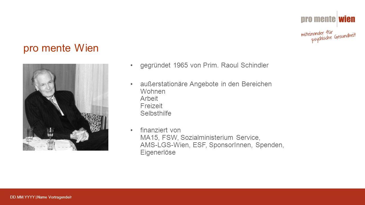 DD.MM.YYYY | Name Vortragende/r pro mente Wien 70 hauptamtliche MitarbeiterInnen 150 ehrenamtliche MitarbeiterInnen & PraktikantInnen 2014 nahmen 1.888 Personen Angebote der pro ment Wien in Anspruch 2014 wurden 97.400 Betreuungsstunden geleistet