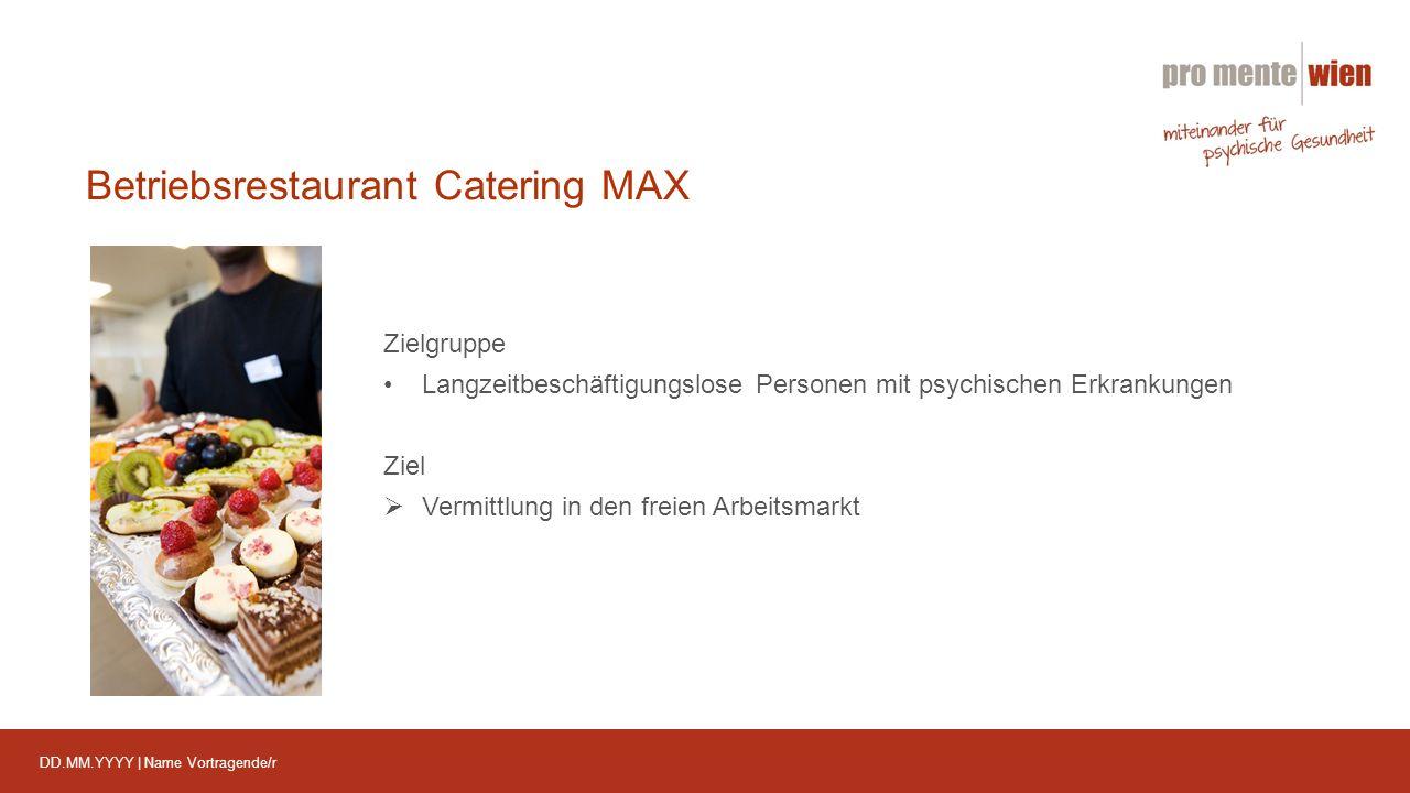 DD.MM.YYYY | Name Vortragende/r Betriebsrestaurant Catering MAX Zielgruppe Langzeitbeschäftigungslose Personen mit psychischen Erkrankungen Ziel  Vermittlung in den freien Arbeitsmarkt