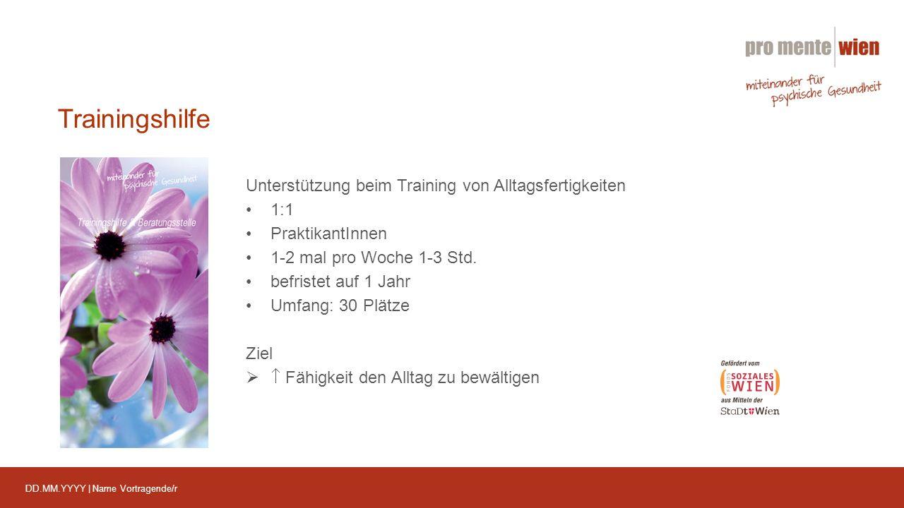 DD.MM.YYYY | Name Vortragende/r Trainingshilfe Unterstützung beim Training von Alltagsfertigkeiten 1:1 PraktikantInnen 1-2 mal pro Woche 1-3 Std.