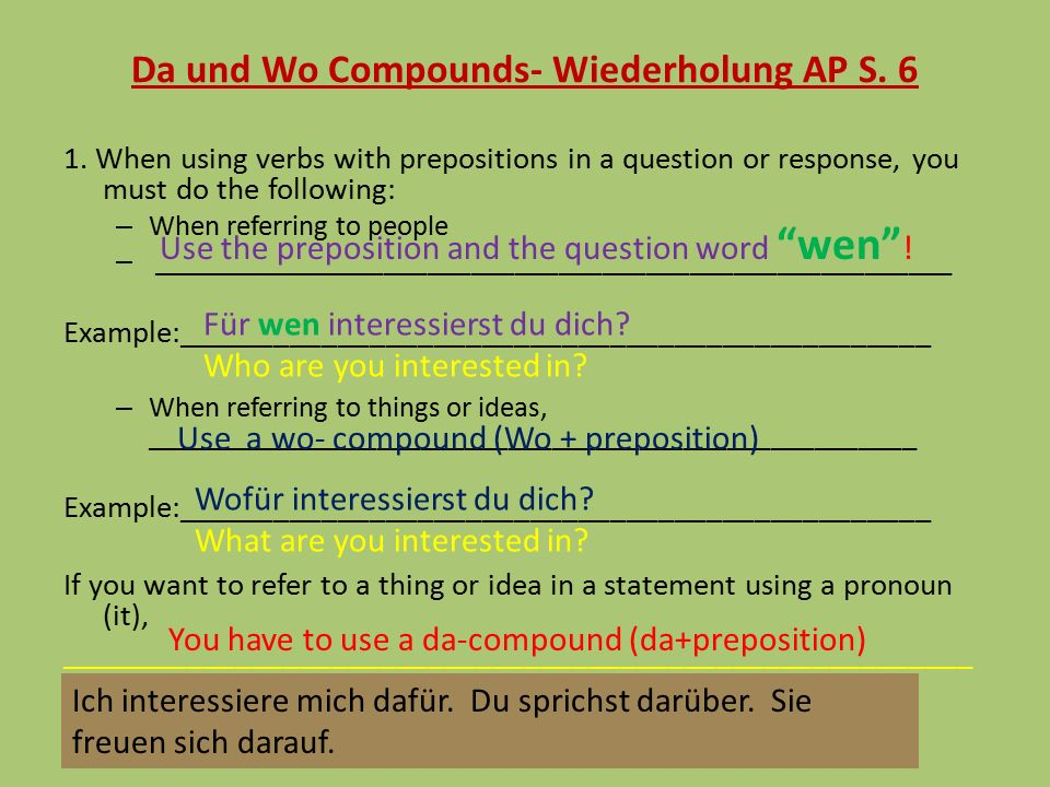 Da und Wo Compounds- Wiederholung AP S. 6 1.