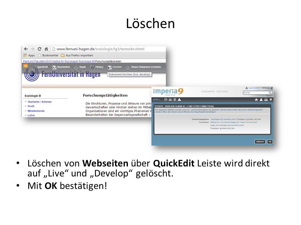 """Löschen Löschen von Webseiten über QuickEdit Leiste wird direkt auf """"Live und """"Develop gelöscht."""