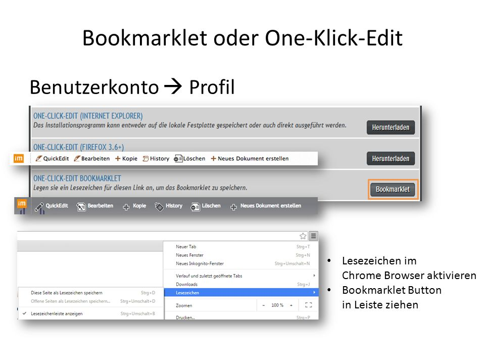 Bookmarklet oder One-Klick-Edit Benutzerkonto  Profil Lesezeichen im Chrome Browser aktivieren Bookmarklet Button in Leiste ziehen