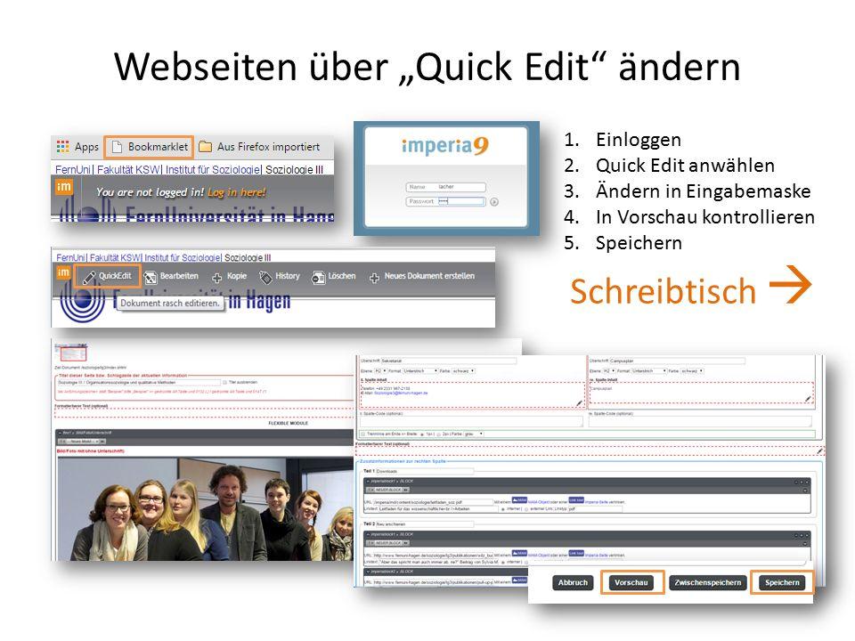 """Webseiten über """"Quick Edit ändern 1.Einloggen 2.Quick Edit anwählen 3.Ändern in Eingabemaske 4.In Vorschau kontrollieren 5.Speichern Schreibtisch """