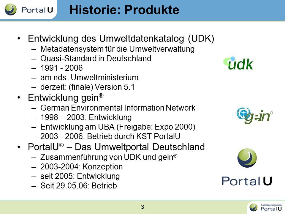 3 Historie: Produkte Entwicklung des Umweltdatenkatalog (UDK) –Metadatensystem für die Umweltverwaltung –Quasi-Standard in Deutschland –1991 - 2006 –a