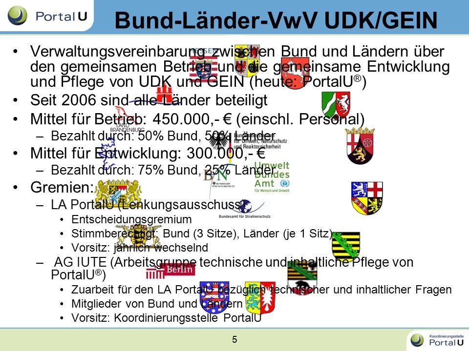 5 Bund-Länder-VwV UDK/GEIN Verwaltungsvereinbarung zwischen Bund und Ländern über den gemeinsamen Betrieb und die gemeinsame Entwicklung und Pflege vo