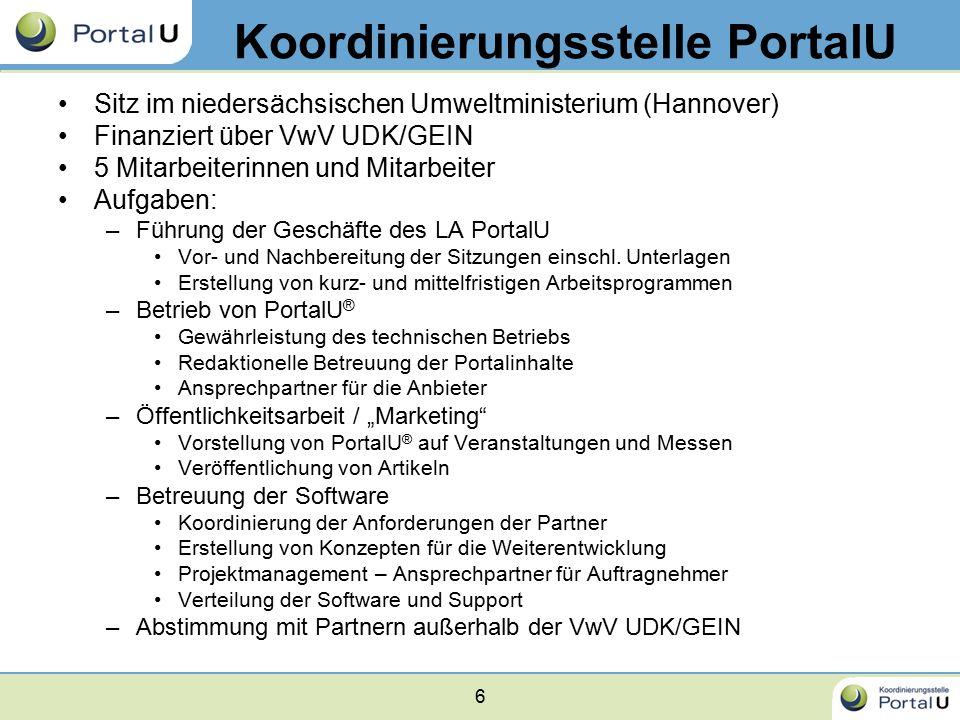 6 Koordinierungsstelle PortalU Sitz im niedersächsischen Umweltministerium (Hannover) Finanziert über VwV UDK/GEIN 5 Mitarbeiterinnen und Mitarbeiter Aufgaben: –Führung der Geschäfte des LA PortalU Vor- und Nachbereitung der Sitzungen einschl.