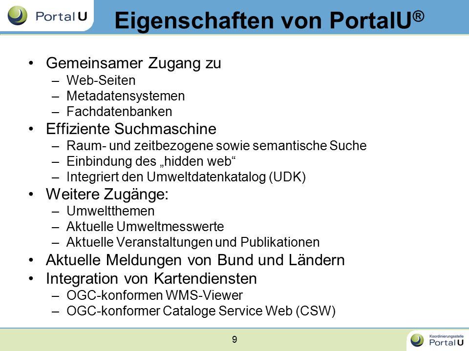 9 Eigenschaften von PortalU ® Gemeinsamer Zugang zu –Web-Seiten –Metadatensystemen –Fachdatenbanken Effiziente Suchmaschine –Raum- und zeitbezogene so