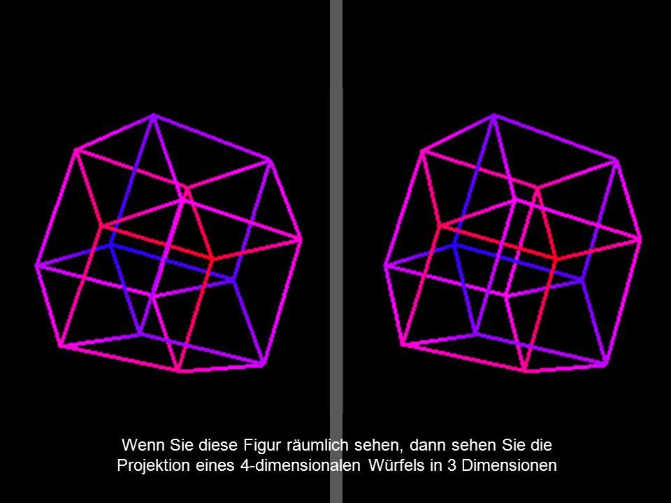 Wenn Sie diese Figur räumlich sehen, dann sehen Sie die Projektion eines 4-dimensionalen Würfels in 3 Dimensionen