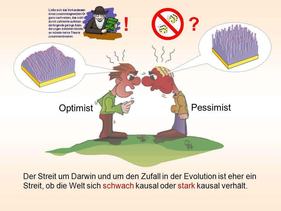 Der Streit um Darwin und um den Zufall in der Evolution ist eher ein Streit, ob die Welt sich schwach kausal oder stark kausal verhält. ? ! Pessimist