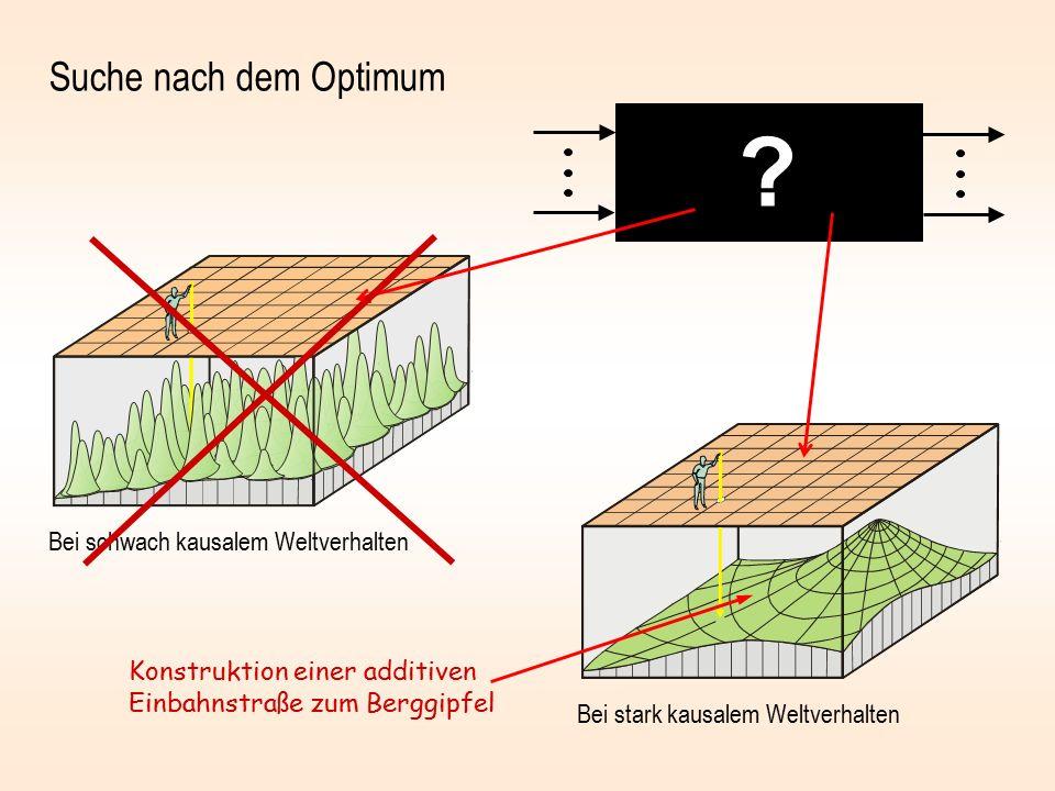 Suche nach dem Optimum Bei schwach kausalem Weltverhalten Bei stark kausalem Weltverhalten Konstruktion einer additiven Einbahnstraße zum Berggipfel ?