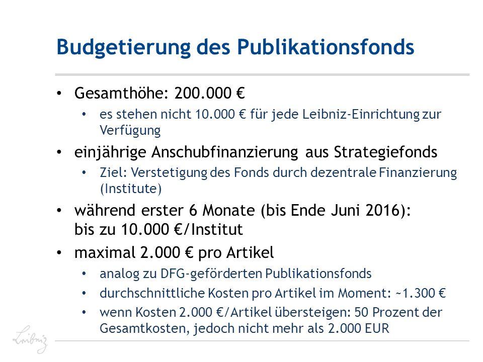 Budgetierung des Publikationsfonds Gesamthöhe: 200.000 € es stehen nicht 10.000 € für jede Leibniz-Einrichtung zur Verfügung einjährige Anschubfinanzierung aus Strategiefonds Ziel: Verstetigung des Fonds durch dezentrale Finanzierung (Institute) während erster 6 Monate (bis Ende Juni 2016): bis zu 10.000 €/Institut maximal 2.000 € pro Artikel analog zu DFG-geförderten Publikationsfonds durchschnittliche Kosten pro Artikel im Moment: ~1.300 € wenn Kosten 2.000 €/Artikel übersteigen: 50 Prozent der Gesamtkosten, jedoch nicht mehr als 2.000 EUR