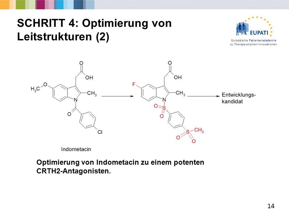 Europäische Patientenakademie zu Therapeutischen Innovationen 14 SCHRITT 4: Optimierung von Leitstrukturen (2) Optimierung von Indometacin zu einem potenten CRTH2-Antagonisten.