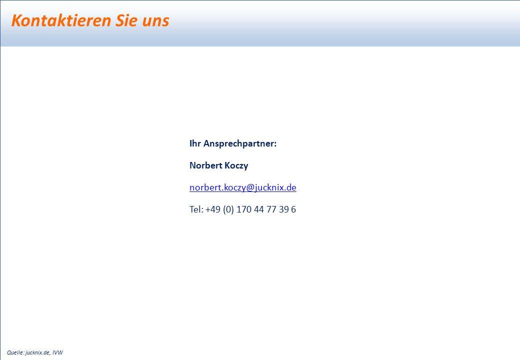 Kontaktieren Sie uns Quelle: jucknix.de, IVW Ihr Ansprechpartner: Norbert Koczy norbert.koczy@jucknix.de Tel: +49 (0) 170 44 77 39 6