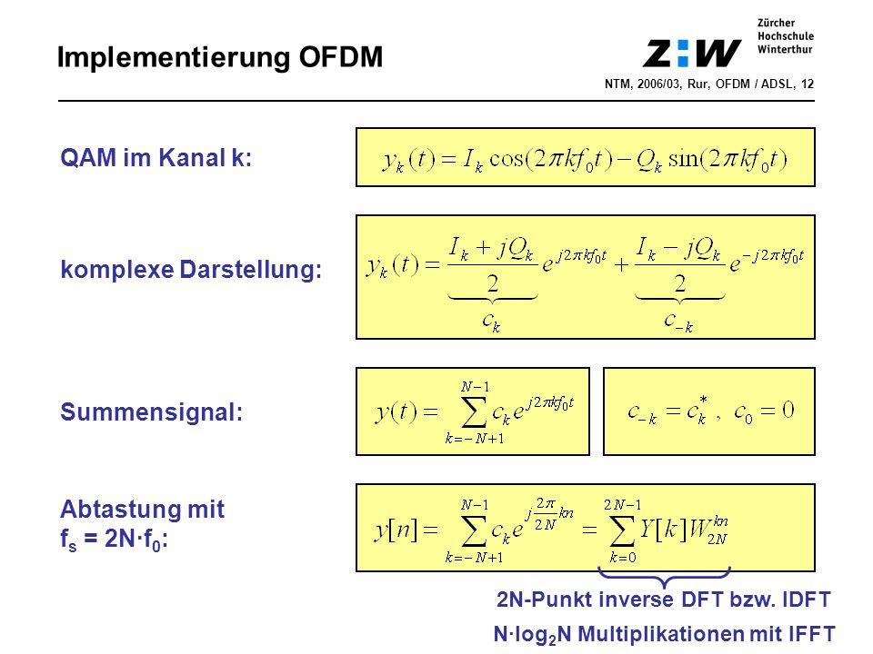 Summensignal: QAM im Kanal k: Abtastung mit f s = 2N·f 0 : komplexe Darstellung: Implementierung OFDM NTM, 2006/03, Rur, OFDM / ADSL, 12 2N-Punkt inverse DFT bzw.