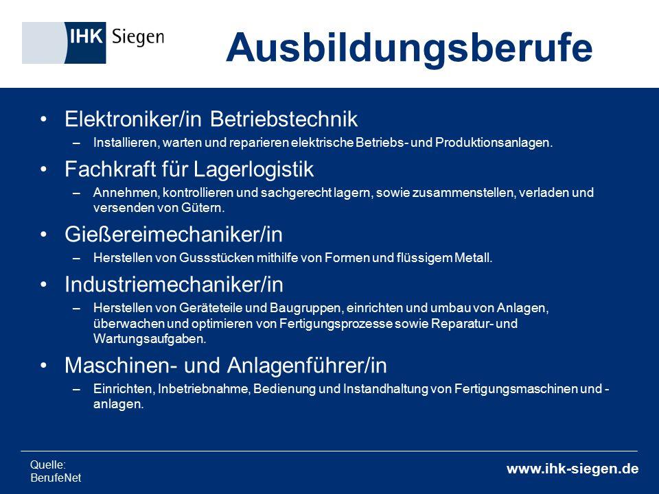 www.ihk-siegen.de Elektroniker/in Betriebstechnik –Installieren, warten und reparieren elektrische Betriebs- und Produktionsanlagen. Fachkraft für Lag
