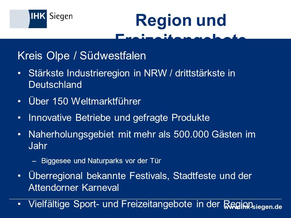 www.ihk-siegen.de Region und Freizeitangebote Kreis Olpe / Südwestfalen Stärkste Industrieregion in NRW / drittstärkste in Deutschland Über 150 Weltma