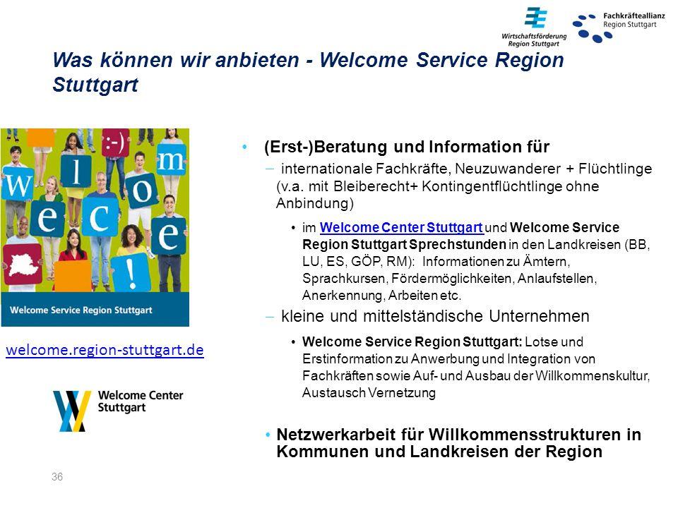 36 (Erst-)Beratung und Information für  internationale Fachkräfte, Neuzuwanderer + Flüchtlinge (v.a.
