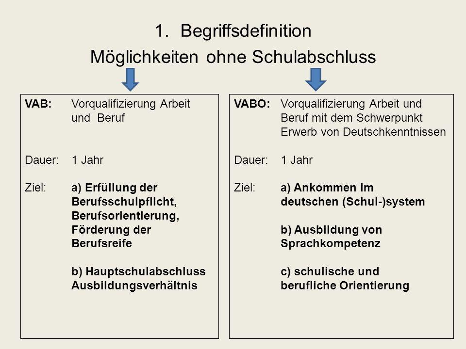 1.Begriffsdefinition Möglichkeiten ohne Schulabschluss VAB: Vorqualifizierung Arbeit und Beruf Dauer: 1 Jahr Ziel:a) Erfüllung der Berufsschulpflicht, Berufsorientierung, Förderung der Berufsreife b) Hauptschulabschluss Ausbildungsverhältnis VABO: Vorqualifizierung Arbeit und Beruf mit dem Schwerpunkt Erwerb von Deutschkenntnissen Dauer: 1 Jahr Ziel:a) Ankommen im deutschen (Schul-)system b) Ausbildung von Sprachkompetenz c) schulische und berufliche Orientierung