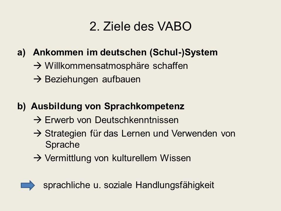 2. Ziele des VABO a)Ankommen im deutschen (Schul-)System  Willkommensatmosphäre schaffen  Beziehungen aufbauen b) Ausbildung von Sprachkompetenz  E