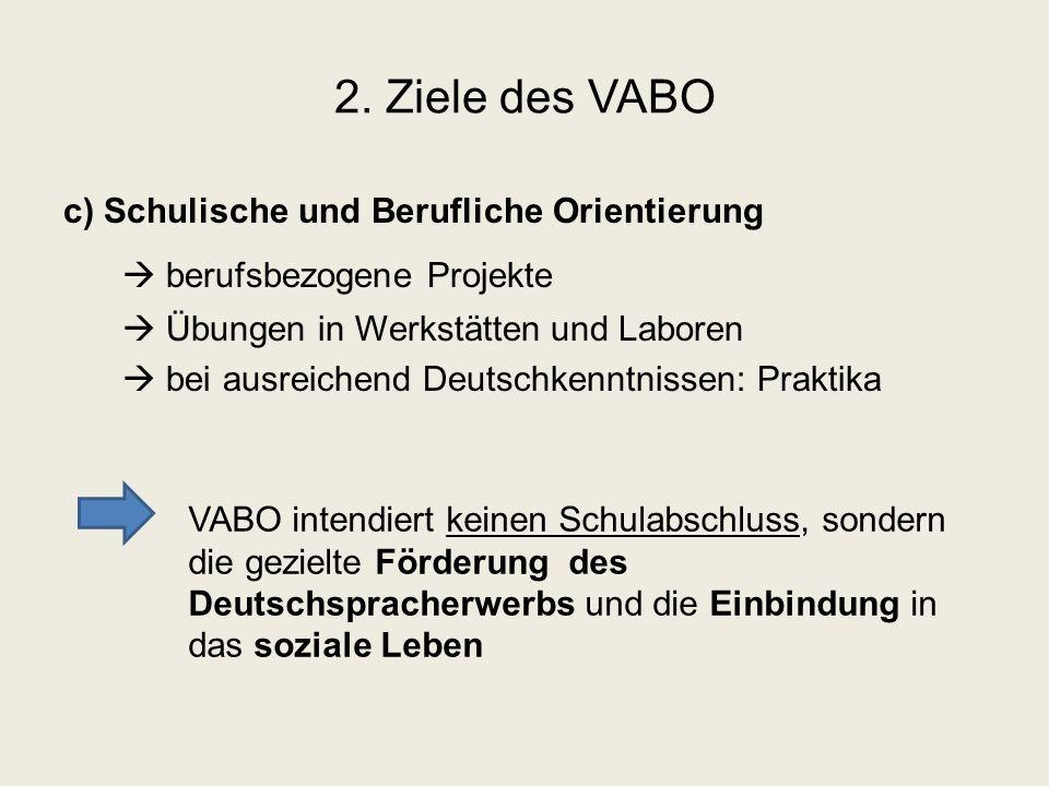 2. Ziele des VABO c) Schulische und Berufliche Orientierung  berufsbezogene Projekte  Übungen in Werkstätten und Laboren  bei ausreichend Deutschke