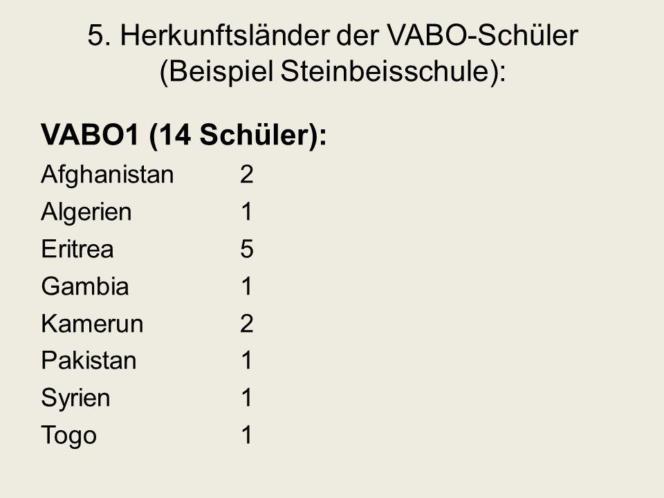 5. Herkunftsländer der VABO-Schüler (Beispiel Steinbeisschule): VABO1 (14 Schüler): Afghanistan2 Algerien1 Eritrea5 Gambia1 Kamerun2 Pakistan1 Syrien1